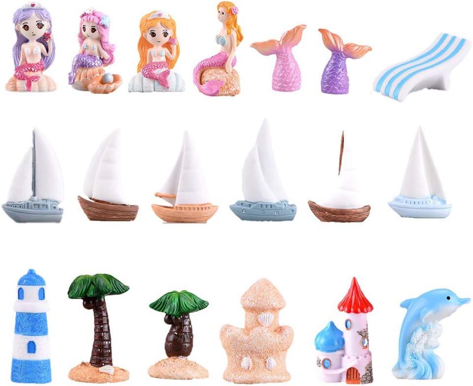 19 Pcs Beach Style Miniature Fairy Garden Ornament Kits for DIY Dollhouse Decoration, Micro Ocean Scene Fairy Garden Accessories, Castle/Cute Girl/Tree/Boat/Dolphin/Lighthouse Miniature Ornament