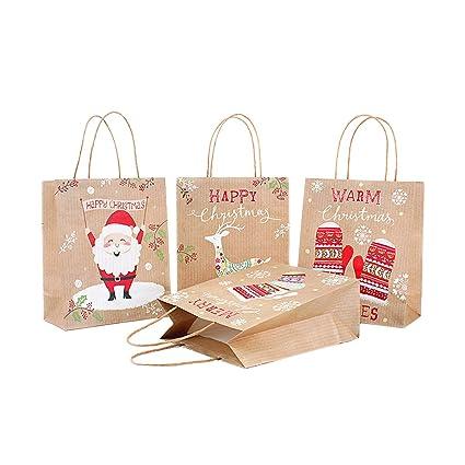 Amazon.com: Pack de 4 bolsas de papel kraft marrón para ...