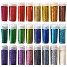 Original Stationery Arts and Crafts Glitter Shake Jars, Extra Fine Powder, 24 Multi Color Assorted Set. Great for Slime, School and Children's Projects