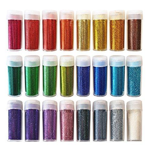 Extrafeiner Glitter für Kunst & Handwerk - Dekoration für Gesicht und Nägel - Set aus 24 Farben