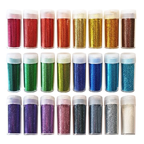 Original Stationery Arts and Crafts Glitter Shake Jars, Extra Fine Powder, 24 Multi Color Assorted Set. Works for Slime, School and Children's Projects by Original Stationery