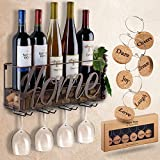 red and brown decor - Wall Mounted Wine Rack | Bottle & Glass Holder | Cork Storage Store Red, White, Champagne | Come with 6 Cork Wine Charms | Home & Kitchen Décor | Storage Rack | Designed by Anna Stay,Home