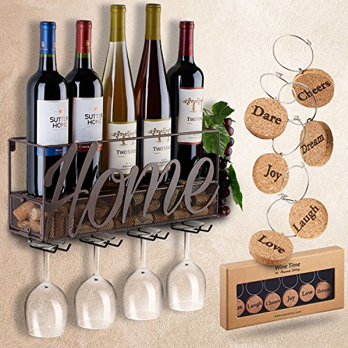 Wall Mounted Wine Rack | Bottle & Glass Holder | Cork Storage Store Red, White, Champagne | Come with 6 Cork Wine Charms | Home & Kitchen Décor | Storage Rack | Designed by Anna Stay,Home by TRIVETRUNNER