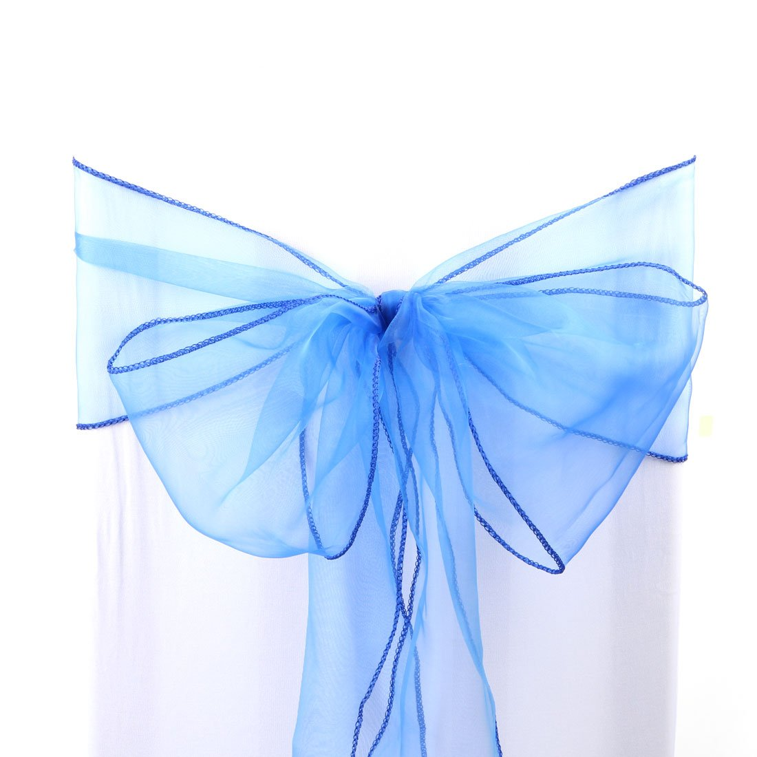 uxcell 1pcs Organza Sashes Chair Cover Bows Sash Fuller Bow for Wedding Party Birthday Banquet Event Decoration Blue a17010900ux0434