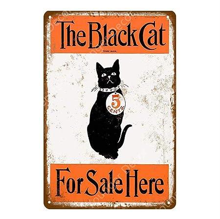 shovv Animal Mascota Perro Gato Negro Cartel de Metal ...