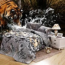 SAYM Home Bedding Sets European Style American Fashion jungle Tiger 3D Print Oil Painting Bedding Set Duvet Cover 4pcs Queen Size