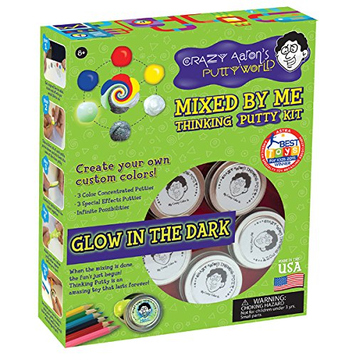 Crazy Aarons, Two Mixed By Me Putty Kit, Includes 5 clear mini tins to create custom glow N dark putty, Bonus Four .47 oz mini tins, Super Fly, North Star, Neon Flash and Northern Lights