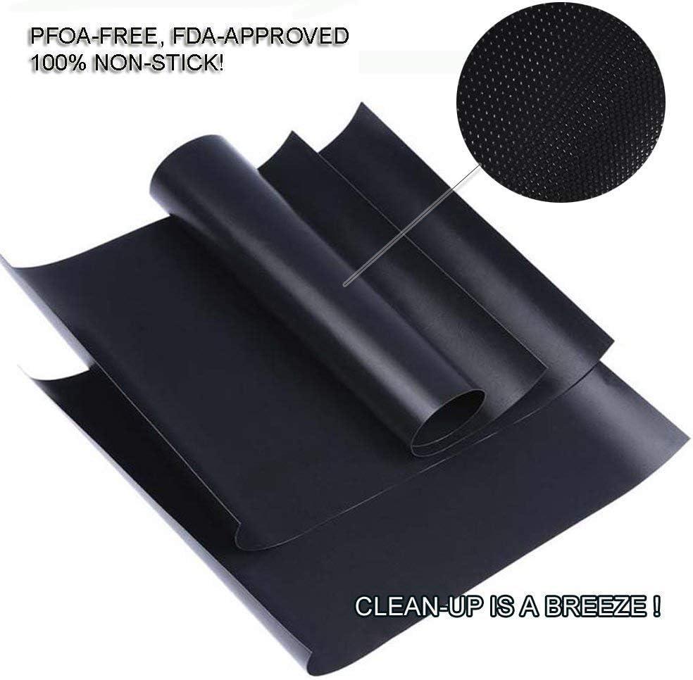 ohne PFOA wiederverwendbares Backpapier zur sicheren Verwendung in Geschirrsp/ülern Sprie/ßen 5 S/ätze Schwarze Grillmatten 40x33 cm Backfolie mit Antihaftbeschichtung