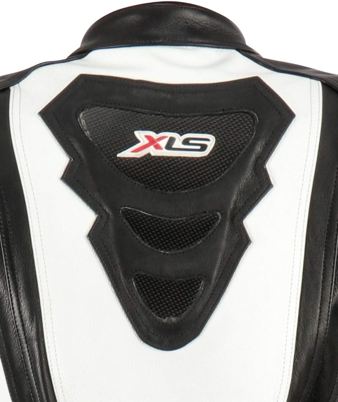 58 XLS Lederkombi Zweiteiler Motorradkombi schwarz wei/ß zweiteilig