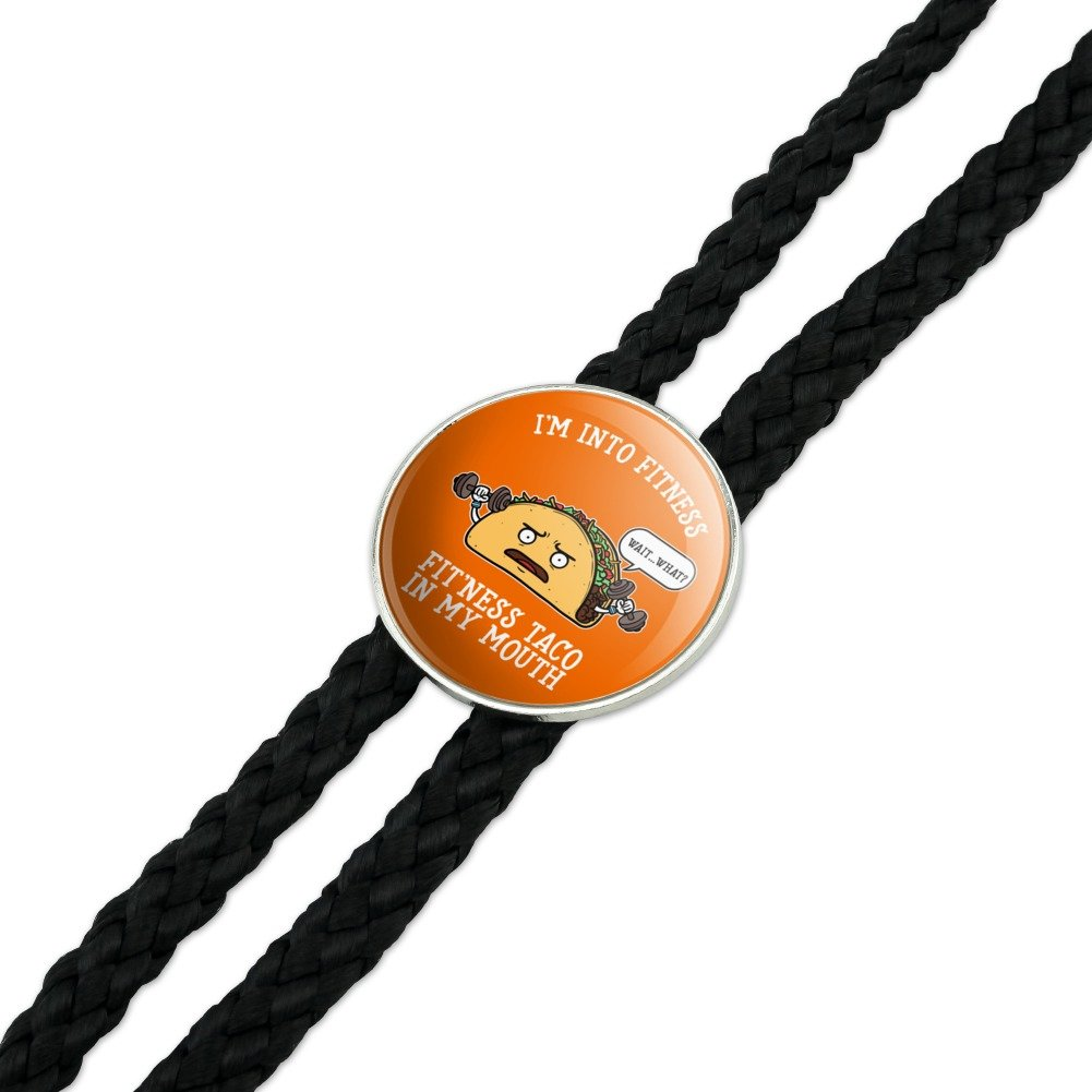 Im Into Fitness Fitness Taco In My Mouth Funny Western Southwest Cowboy Necktie Bow Bolo Tie