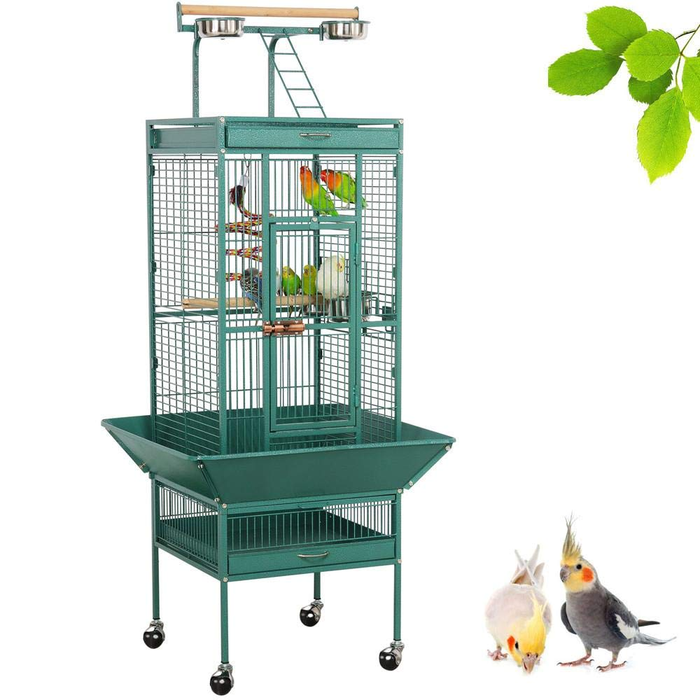 Yaheetech 62-inch Wrought Iron Rolling Large Bird Cages for African Grey Mid-Sized Parrots Cockatiels Indian Ring Neck Sun Parakeet Green Cheek Conure Lovebird Budgie Finch Canary Bird Cage with Stand by Yaheetech