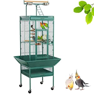 Yaheetech 61-inch Wrought Iron Rolling Play Top Large Parrot Bird Cage for Small Parrot Cockatiel Sun Parakeet Green Cheek Conure Lovebird Budgie Finch Canary Bird Cage with Stand