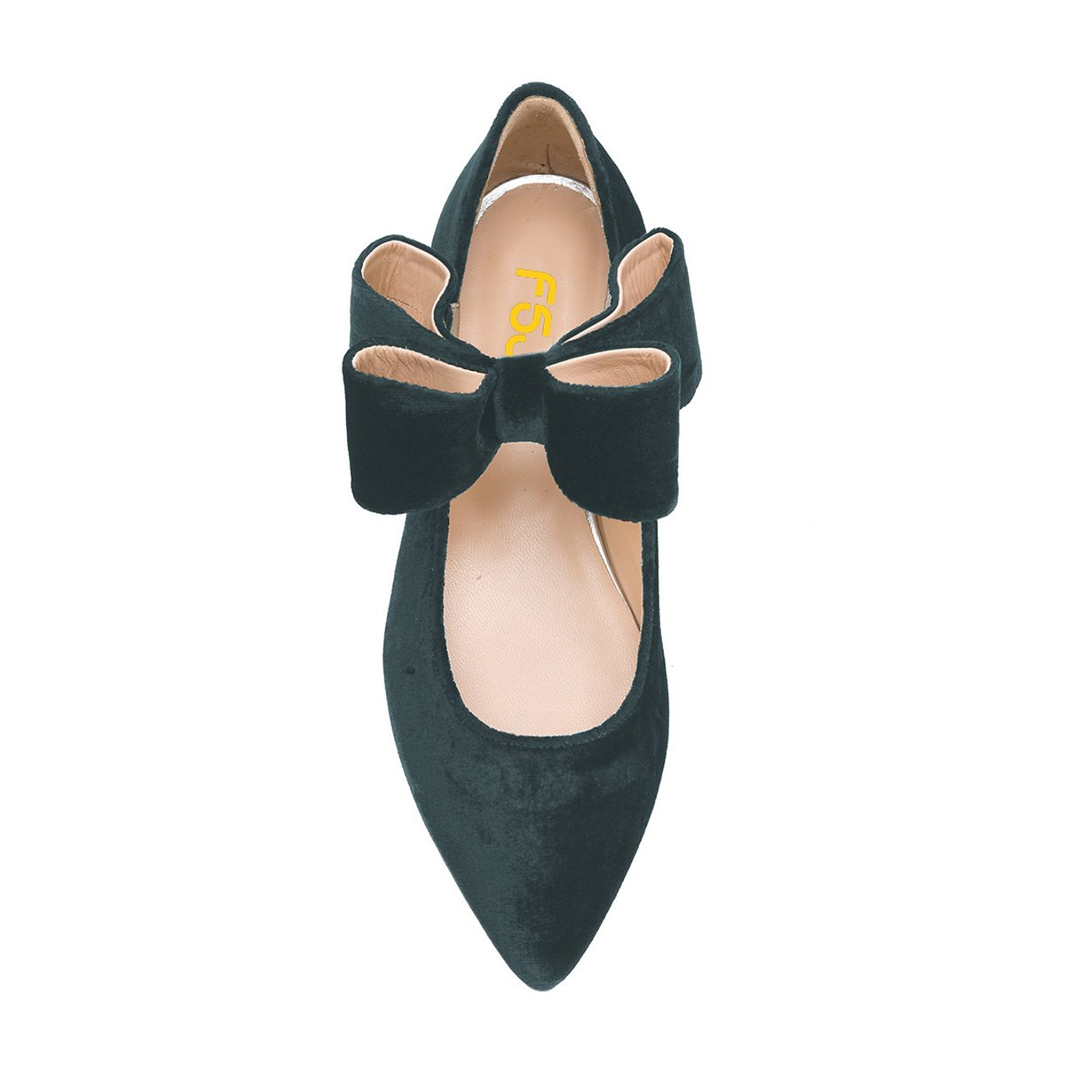 FSJ Women Cute Pointed Toe Flats With Bowknot Velvet Low Heels Slip On Comfy Shoes Size 4-15 US B076QBCCP4 7 B(M) US|Dark Green