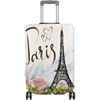 Mydaily Eiffel Tower Vintage Luggage Cover Fits 18-32 Inch Suitcase Spandex Travel Protector