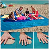 #6: HEHUI Sand Free Beach Mat, Sand Proof Mat is Easy to Clean and Dust Prevention, Perfect for the Outdoor Events with Your Family,Fashion Shoulder bag and Durable Plastic Anchors Included