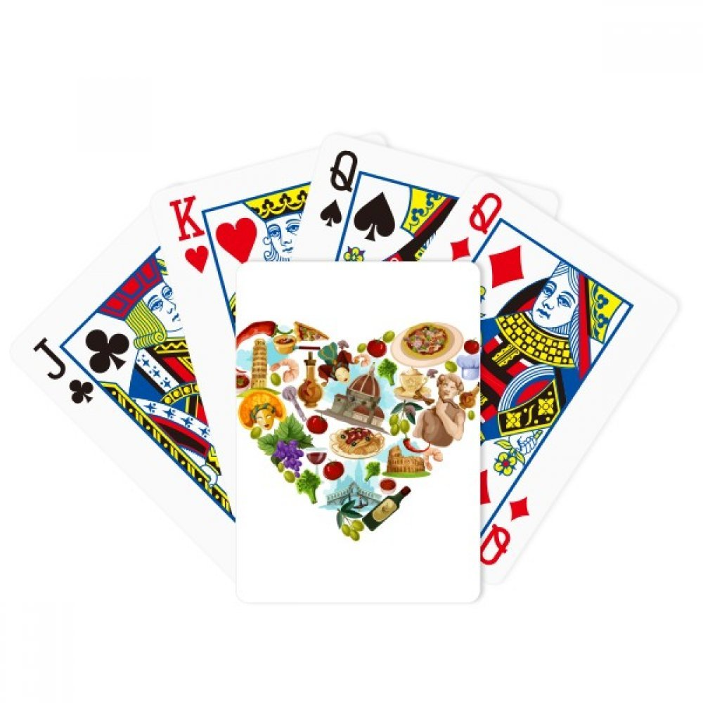 Italy Heart Landmark National Flag Pattern Poker Playing Cards Tabletop Game Gift