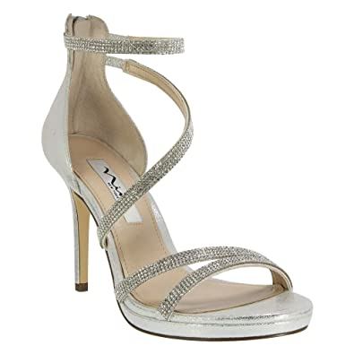 Nina Womens Reed Open Toe Ankle Strap Platform Pumps Silver Skylight Size 8.0