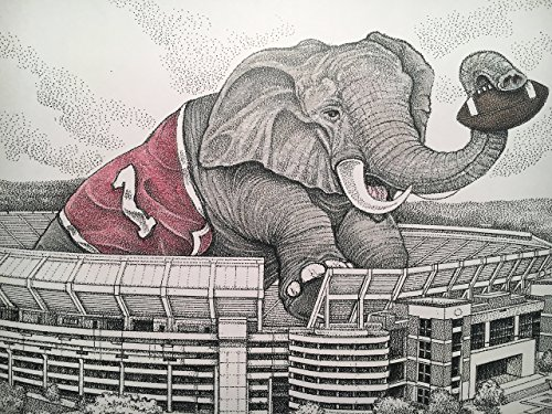 Alabama football stadium with elephant 11''x17'' pen and ink print from hand-drawn original by Campus Scenes (Image #3)