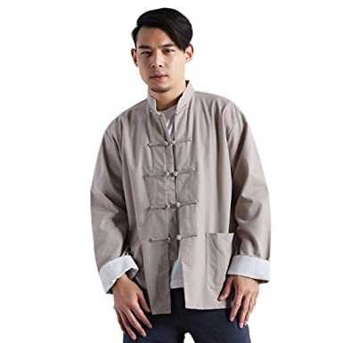 7a98efa44ae7 Z Style Chinois Traditionnel Stand Stand Col Manteau De Lin Kung Fu Vintage