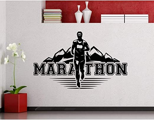 ZHOUZXY Marathon Runner Wall Decal Running Sport Run Athlet Club Fitness Gym Vinilo Adhesivo Home Kids Room Poster Vinyl: Amazon.es: Hogar
