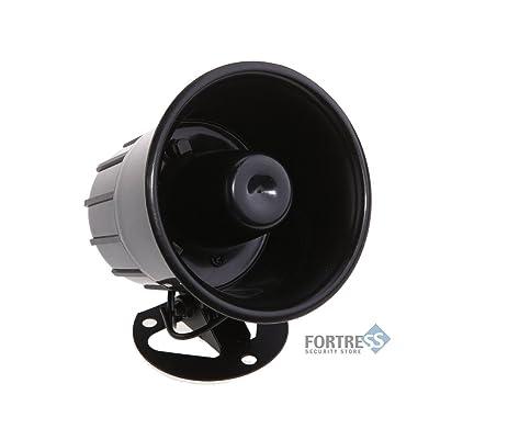 fortress security store tm loud indoor outdoor black siren for diy s02