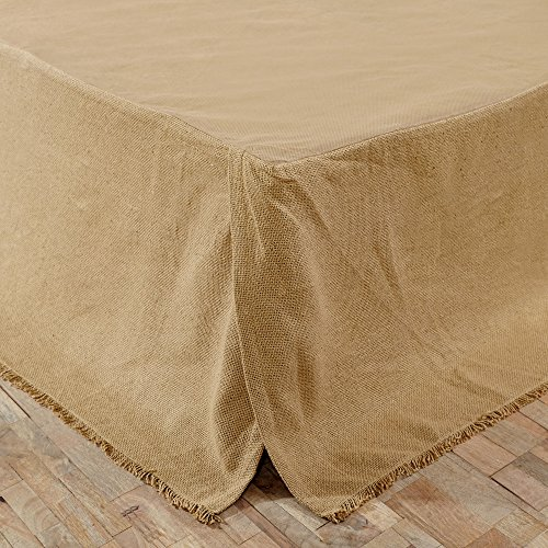 VHC Brands Classic Country Farmhouse Burlap Natural Tan Fringed Bed Skirt, - Skirt Mystery