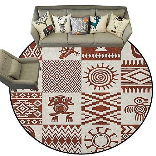 Southwestern Area Rugs Frames with Ethnic Native American Patterns and Symbols Grunge Look D48 Floor Mat Living Room Children Playroom
