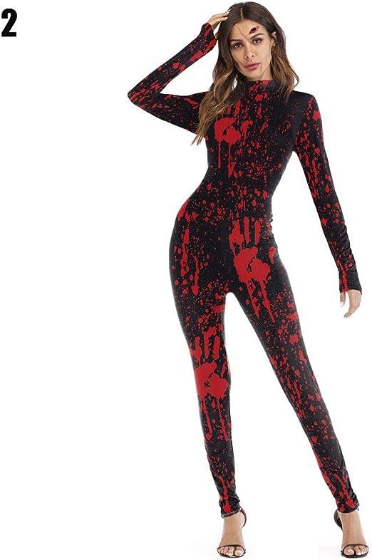 Mujer Disfraz Halloween Hueso Esqueleto Mono Cosplay Body Manga ...