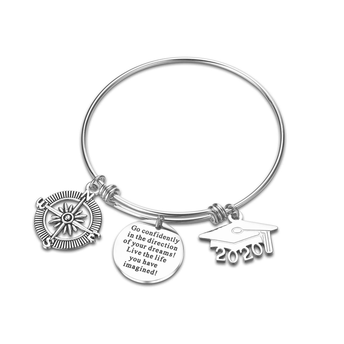 Class of 2020 Graduation Gift Graduation Cap Bangle Bracelet Compass Expandable Bracelet Inspirational Jewelry for Women She Believed She Could So She Did