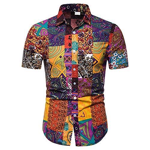 Men Print Turn-Down Collar Slim Fit Short Sleeve Top Shirt Blouse Plus Size(A,XL)