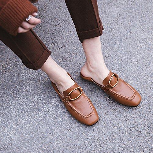 ZFNYY Zapatos Las Los Hebilla la Zapatos del la de Las Casuales Cabeza de Mujeres de de Perezoso Estilo Cuadrada Mujeres Planos los Zapatos Forman rFHqwr