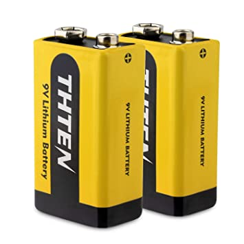THTEN - Batería de Litio de 9 V y 1200 mAh para Detector de Humo y Alarma de Incendios (2 Unidades): Amazon.es: Electrónica