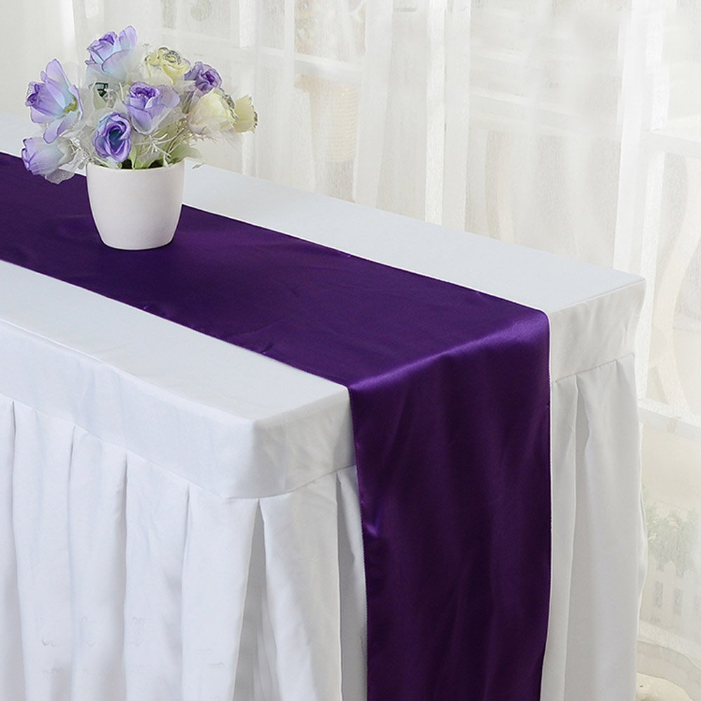 Amazon ourwarm satin table runner 12x 108 inch wedding amazon ourwarm satin table runner 12x 108 inch wedding party table decoration purple kitchen dining junglespirit Images