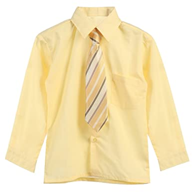 62ac2b086 Little Boys Yellow Tie Long Sleeve Button Special Occasion Dress Shirt 3T: B -One: Amazon.co.uk: Clothing