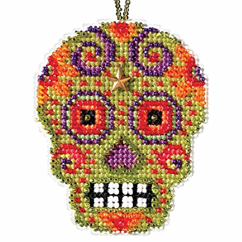 Verde Beaded Cross Stitch Halloween Kit 2016 Mill Hill Calavera Charmed Ornaments MH161622]()