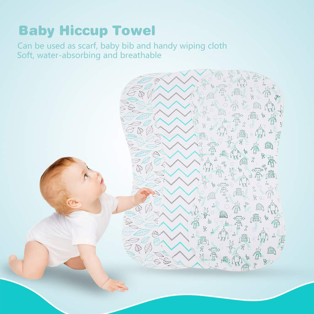 3-Pack Baby Burp Cloths Organic Cotton Double Layer Hiccup Towel Thick Unisex Soft Absorbent Baby Burping Rags for Newborns Baby Boys Girls Shower Gift #2