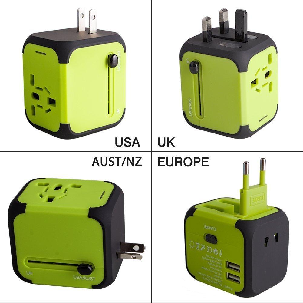 Adaptador de viaje universal para EE. UU. Reino Unido AU UE Multinacional Enchufe de pared universal con cargador USB 2 y fusible de seguridad todo en uno Adaptador de cargador (verde)