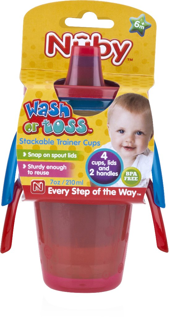 Nuby 1988305 Wash or Toss 7 oz Trainer Cups - Pack of - Case of 24