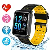 Smart Watch Bluetooth Fitness Watch - Waterproof Touchscreen, TF2 1.3 inch HD, Step Counter, Heart Rate & Sleep Monitor Sport Smart Bracelet for IOS/Android, for Men Women Kids (Black + Yellow)
