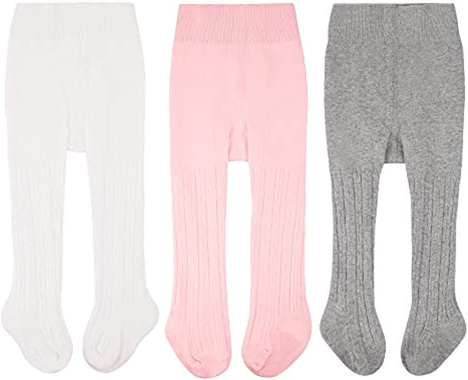 3 Pack Baby Toddler Girls Tights Cable Knit Cotton Seamless Leggings Pantyhose