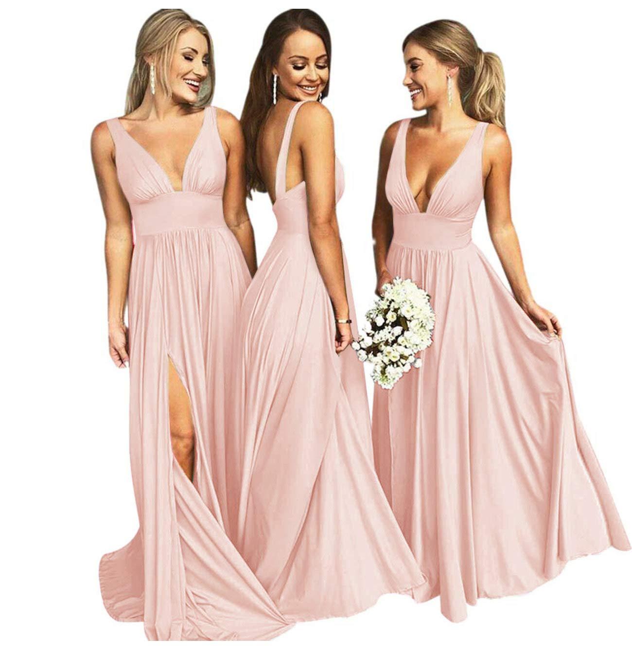 Bridesmaid Dresses Long V Neck Backless Split Beach Wedding Evening Prom Dress For Women Blush Size2