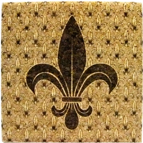 Xl Coasters Fleur De Lis  9 Inch  Oversized Cork Absorbent Drink Coaster For Sweaty Drinks Usa