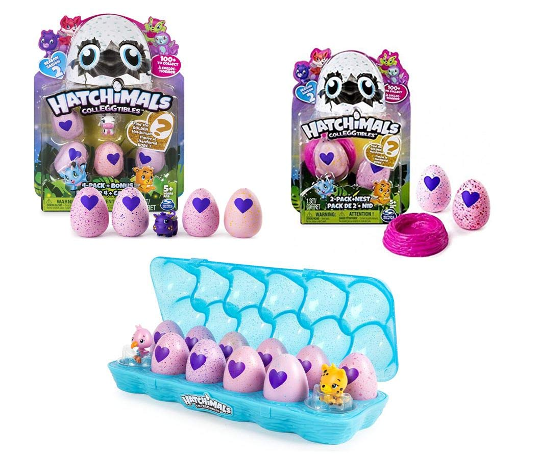 Hatchimals Colleggtibles Season 2 Gift Pack! ( Includes Egg Carton 12 Pack, 5 Pack, 2 Pack with Nest) Total of x19 by Hatchimals
