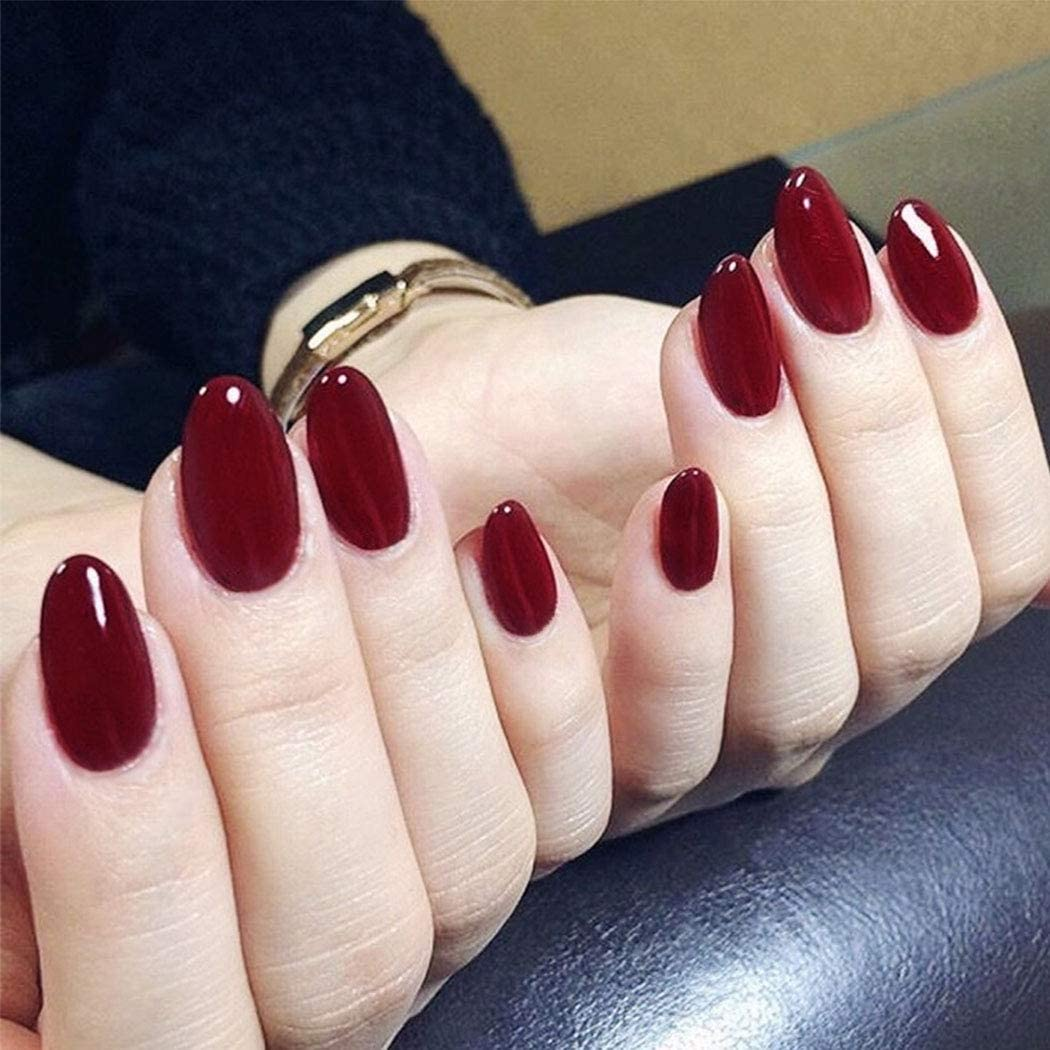 Fashband Fake Nails Press On Nail Jewelry Red Nails Gel Oval Shaped Full Cover Acrylic False Nails 24pcs For Women And Girls Amazon Co Uk Beauty
