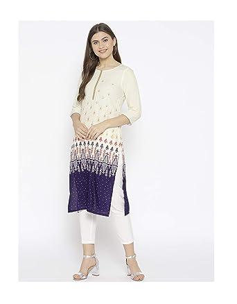 815861e70f491 Amazon.com: Hiral Designer Mall Indian anarkali kurti Off-White ...
