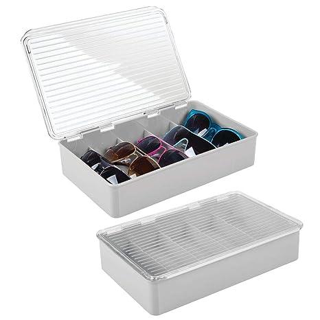 mDesign Juego de 2 cajas para gafas de sol – Clasificador de plástico con 5 compartimentos – Organizador de armarios para guardar todo tipo de gafas – ...