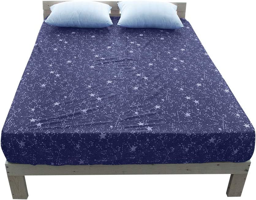 BuLuTu Cotton Deep Pocket Starry Sky Print Fitted Bed Sheet Twin-Breathable Durable and Comfortable,Premium Single Fitted Sheet Without Pillowcases