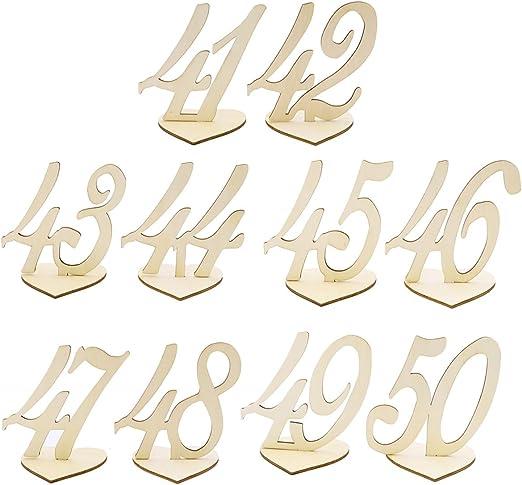 LUOEM 10 piezas 41 – 50 números de mesa de madera con forma de ...