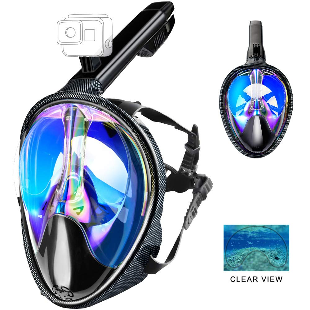 XYDIV Full Face Snorkel Mask Panoramic 180 Seaview Plating UV 400 Diving Masks for Adults & Youth Easy Breath Snorkeling Mask with Camera Mount Anti-Fog Scuba Mask (Blue, L/XL) by XYDIV