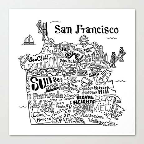 San Francisco Map Illustration Art Canvas Wall Art Prints 12 X 12 Inch  Framed Modern Decor
